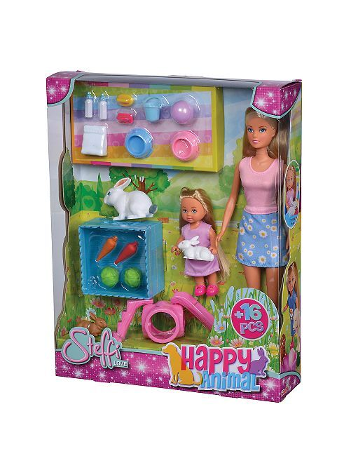 Coffret poupée 'Steffi' lapins                             rose/bleu