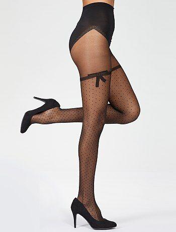 Lingerie du S au XXL - Collant noir Sexy Noeud Dentelle 'Dim' - Kiabi