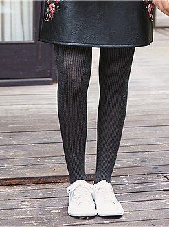 Collants, chaussettes - Collants chauds en maille côtelée