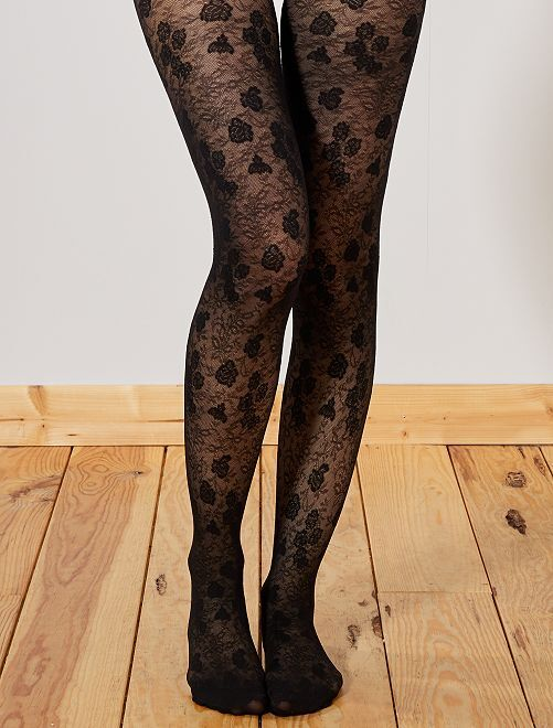 Collants 'DIM' Style fleurs dentelle                             noir Lingerie du s au xxl