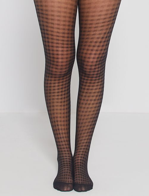 Collants vichy Style de 'DIM' 20D                             noir
