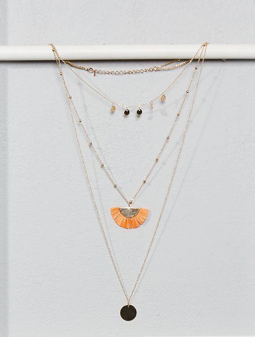 Collier 3 rangs avec médailles et pompons                                         orange Grande taille femme