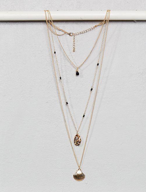 Collier 3 rangs avec pendentifs coquillage                             doré léopard