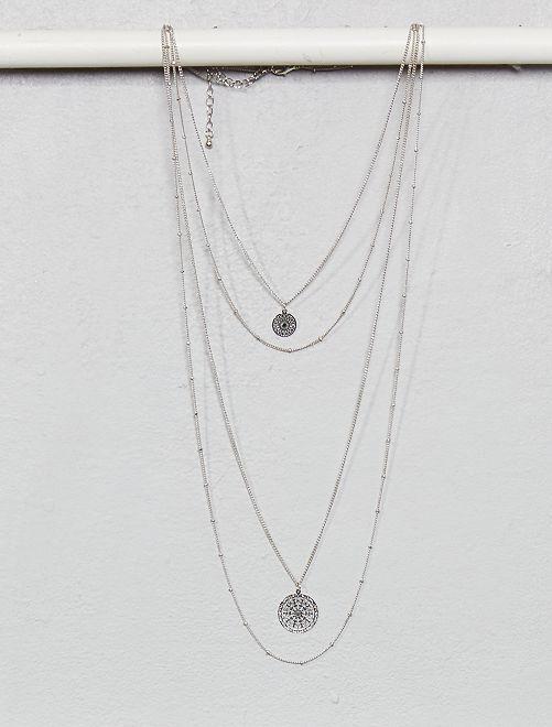 Collier 4 rangs avec pendentifs                     argenté