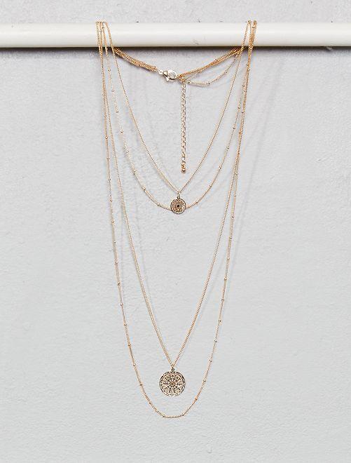 Collier 4 rangs avec pendentifs                                         doré