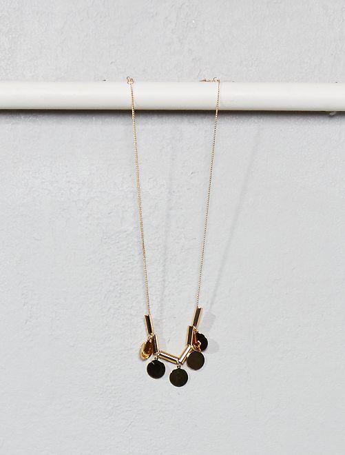 Collier avec pendentifs ronds                             doré