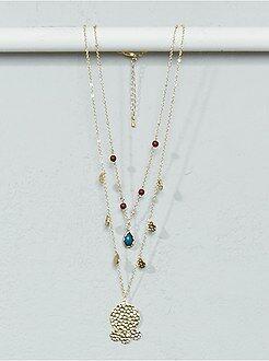 Femme du 34 au 48 Collier chaînes, perles et pampilles
