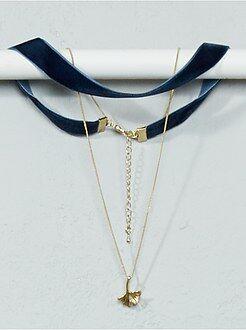 Bijoux - Collier chocker + chaîne et pendentif feuille - Kiabi