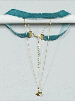 Collier chocker + chaîne et pendentif feuille - Kiabi