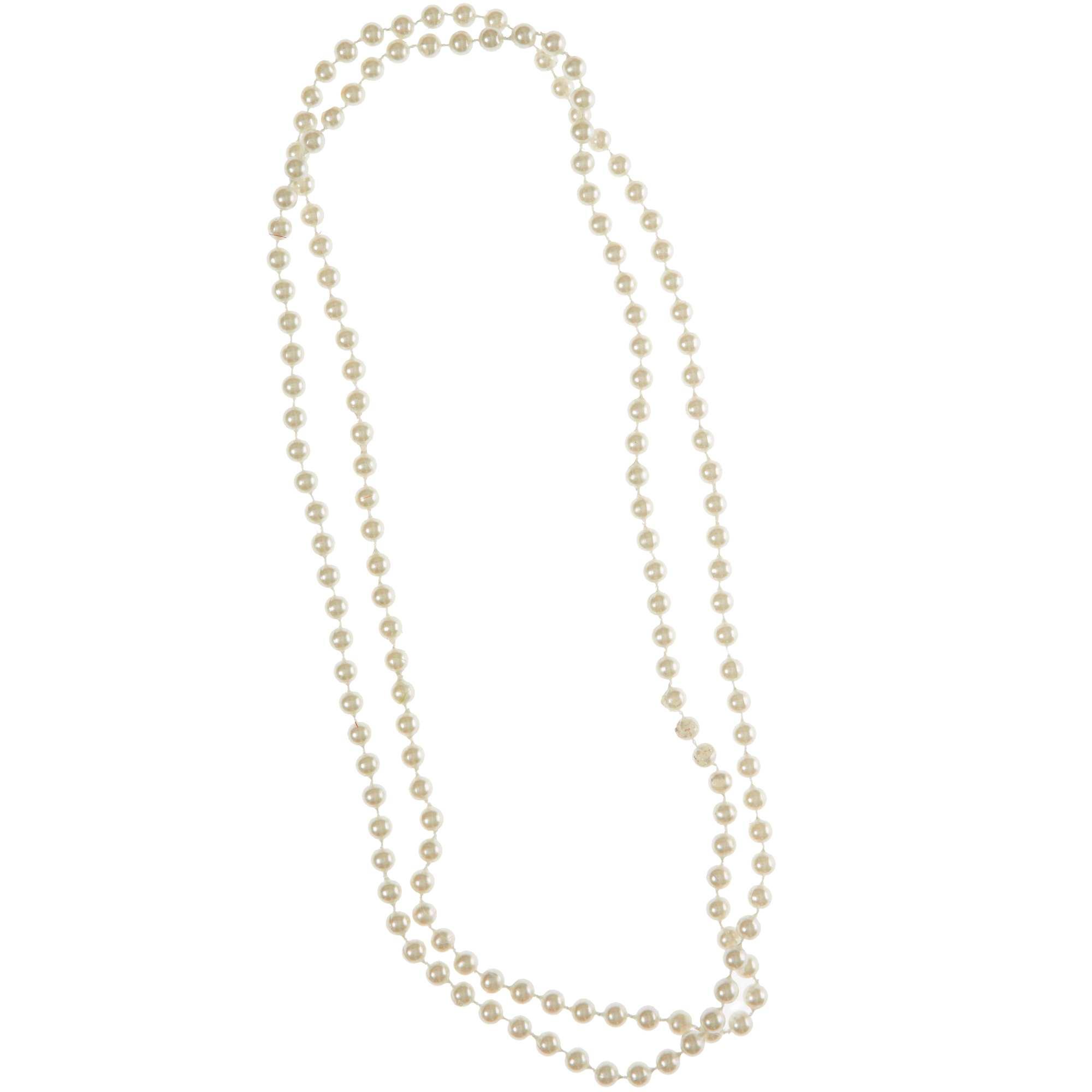 Couleur : blanc, , ,, - Taille : TU, , ,,Collier sautoir de perles. - Longueur totale : 160 cm - Perles factices