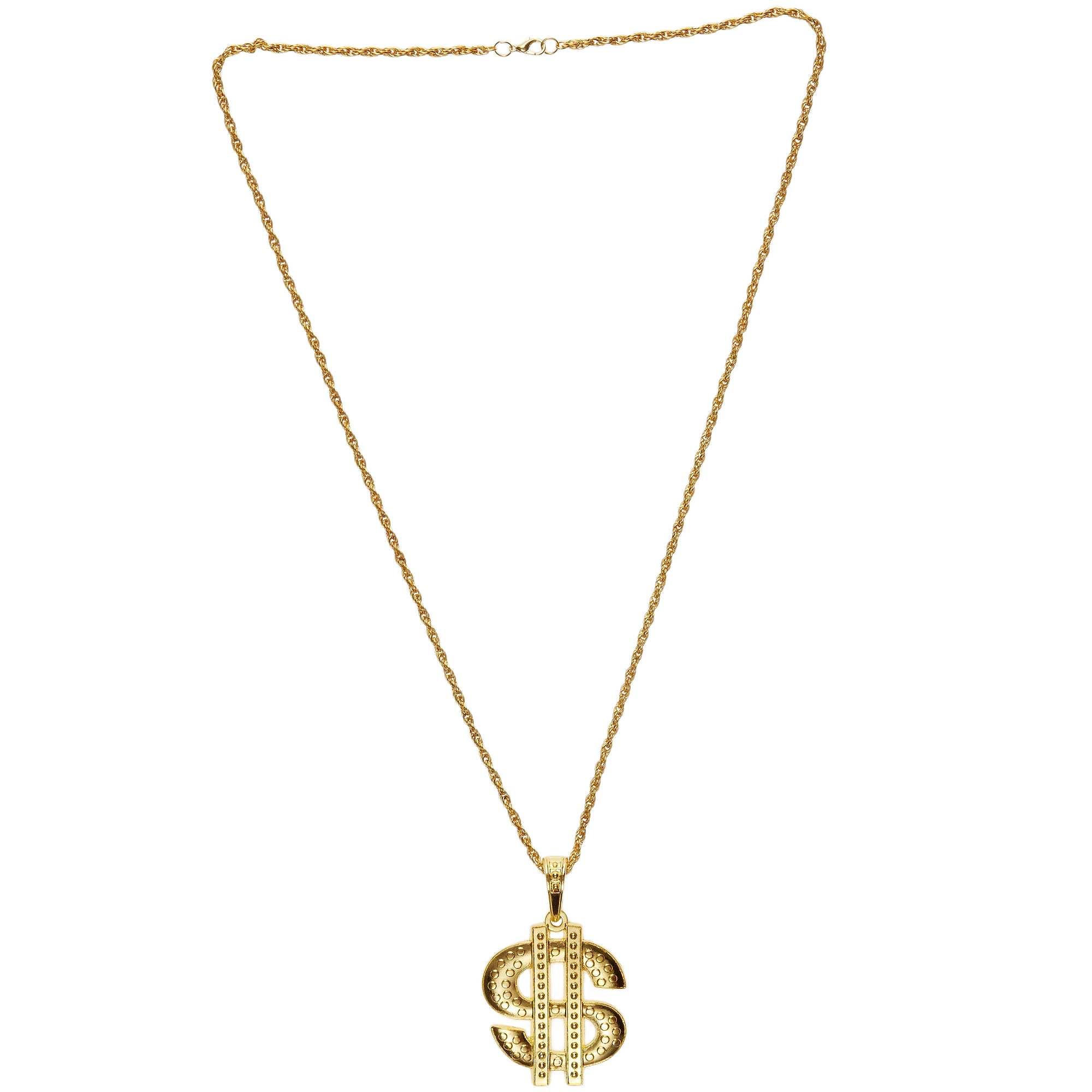 Couleur : doré, , ,, - Taille : TU, , ,,Pour un look de rappeur ou de gangster américain, ce collier 'Dollar $' en métal doré