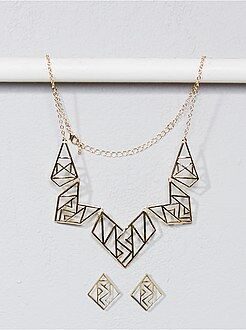 Bijoux - Collier et boucle d'oreille forme géométrique - Kiabi