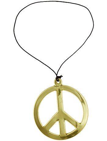 Collier peace and love en plastique. Diamètre 18 cm environ.