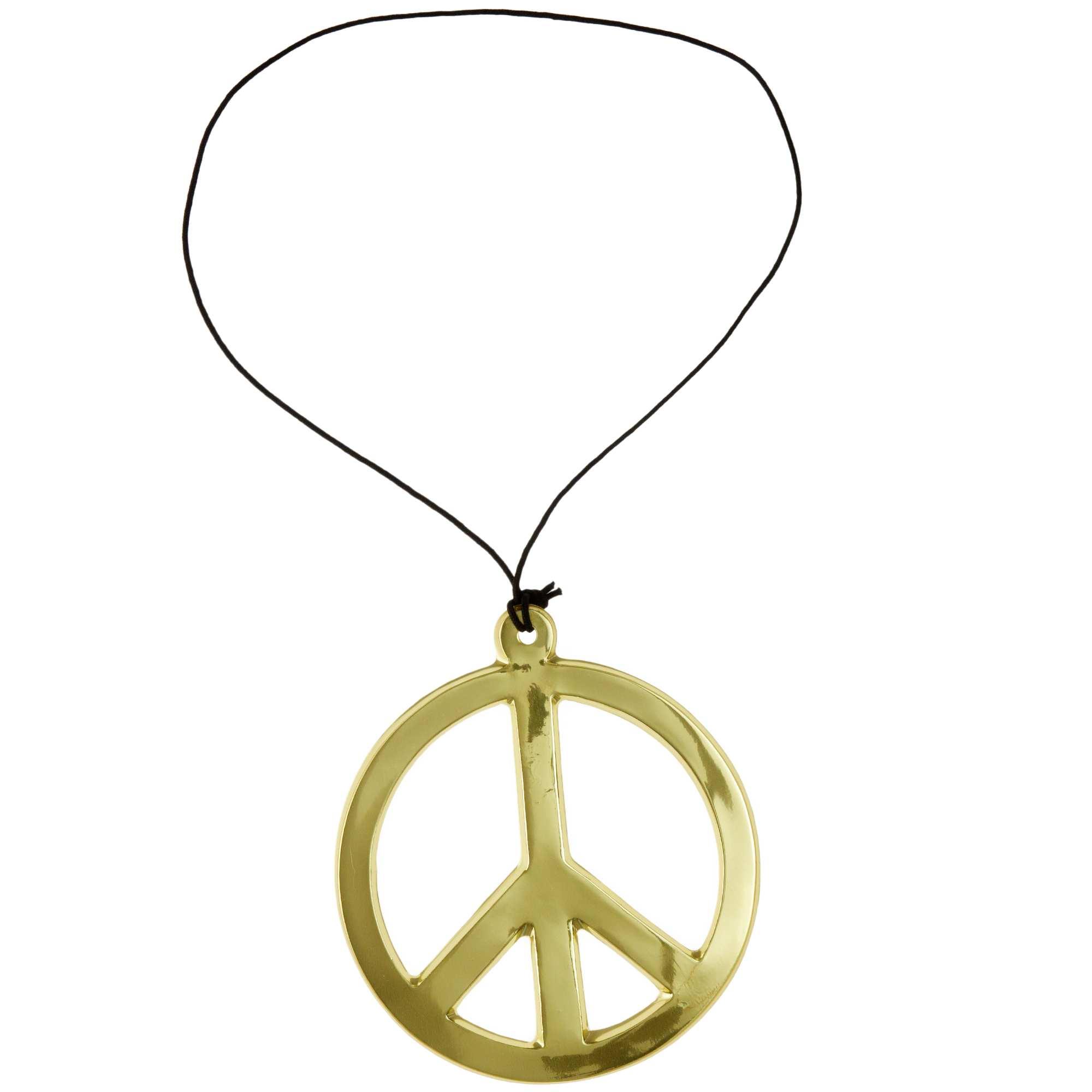 Couleur : argent, doré, ,, - Taille : TU, , ,,Collier peace and love en plastique. Diamètre 18 cm environ.