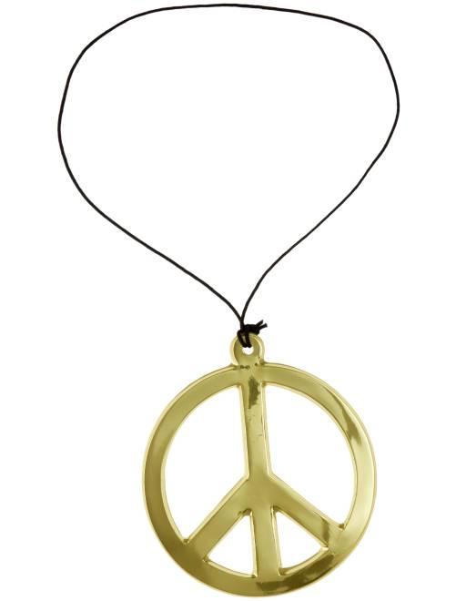 Collier hippie peace and love                                          doré