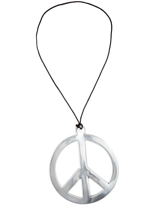Collier hippie peace and love                      argent