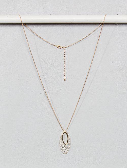 Collier long avec pendentif pailleté                                         doré