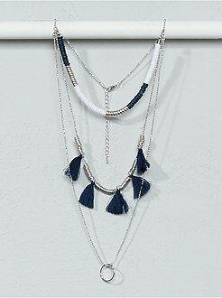 Femme du 34 au 48 Collier sautoir chaînes, perles et pompons