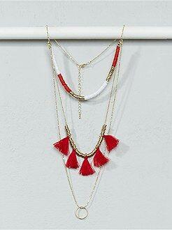 Bijoux - Collier sautoir chaînes, perles et pompons - Kiabi