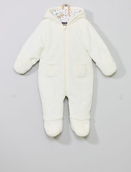 Combi-pilote en polaire douce                             blanc Bébé garçon