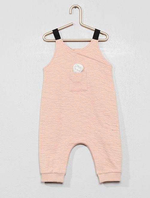Combinaison barboteuse gaufrée                             rose Bébé fille