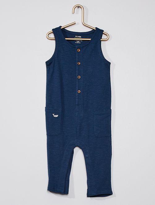 Combinaison en jersey boutonnée                                         bleu marine