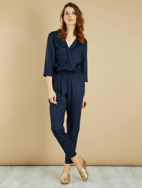 combinaison fluide jacquard femme bleu marine kiabi 15 00. Black Bedroom Furniture Sets. Home Design Ideas