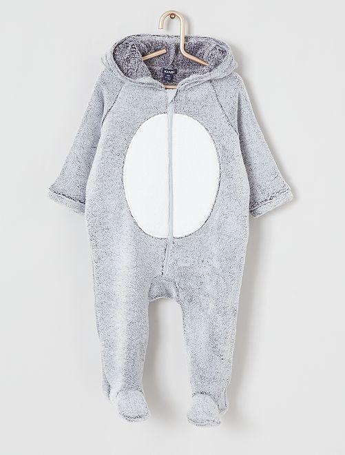 Combinaison maille peluche                                                                 gris koala
