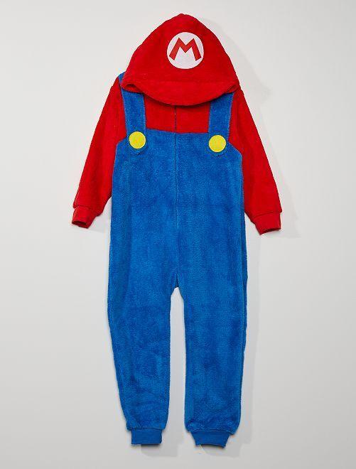 Combinaison 'Mario' en polaire douce                             bleu/rouge
