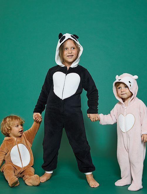 Combinaison 'panda' en peluche                             noir/blanc