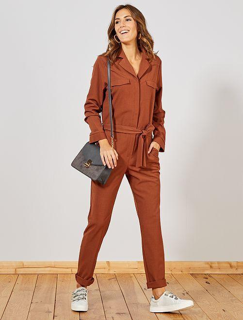 Combinaison pantalon à col pyjama                                         brun