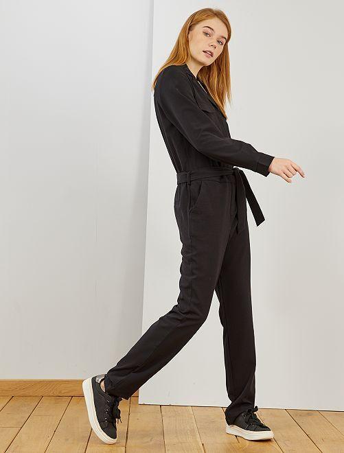 Combinaison pantalon à col pyjama                             noir