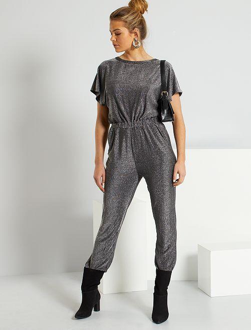 Combinaison pantalon argentée                             noir