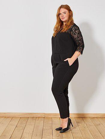 Grande taille femme - Combinaison pantalon avec dentelle - Kiabi
