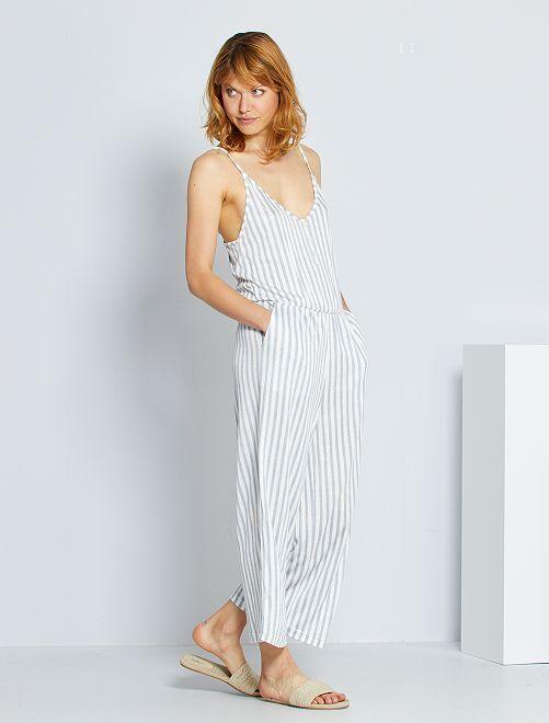 Combinaison pantalon en maille froissée                                 blanc/bleu rayé