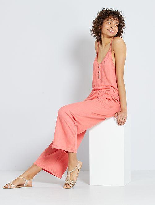 Combinaison pantalon en maille froissée                                                     rose orangé
