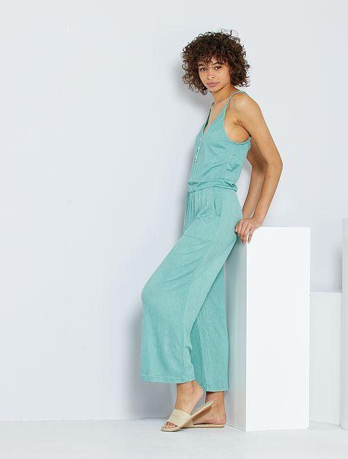 Combinaison pantalon en maille froissée                                                     vert