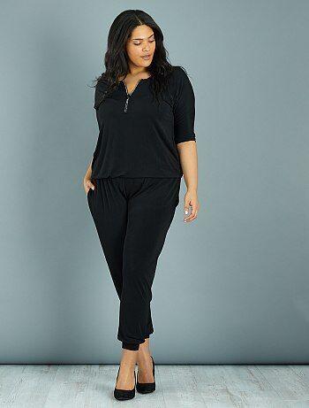combinaison pantalon encolure zipp e strass noir grande taille femme kiabi. Black Bedroom Furniture Sets. Home Design Ideas