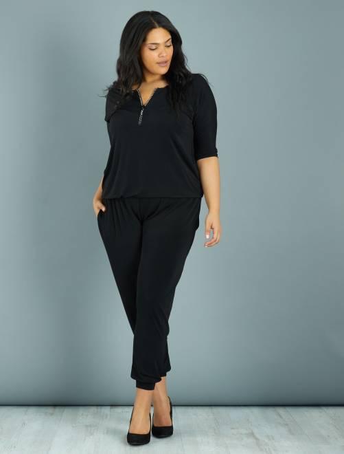 Combinaison pantalon encolure zippée à strass                             noir