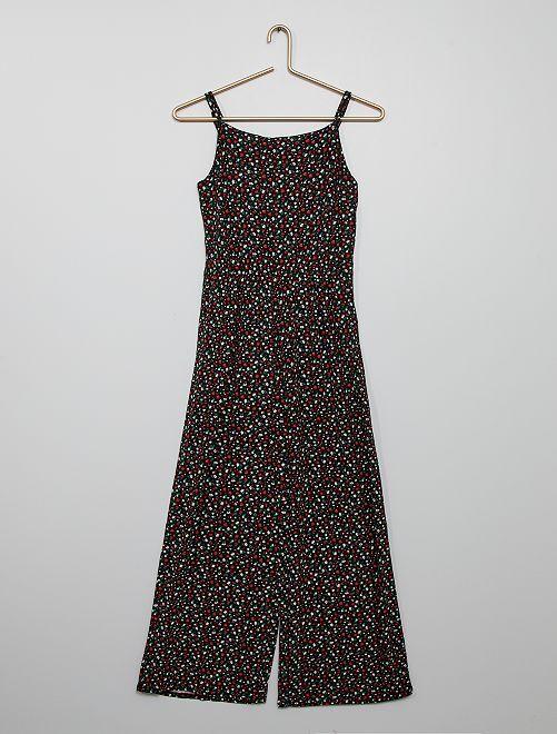 Combinaison pantalon 'fleurie'                                         noir
