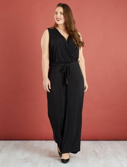 Combinaison pantalon fluide                             noir Grande taille femme