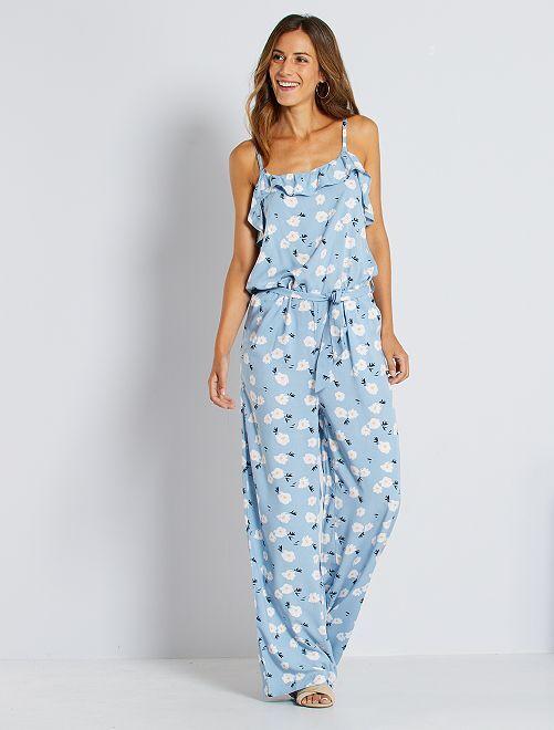 Combinaison pantalon imprimé 'fleurs'                                         bleu fleuri