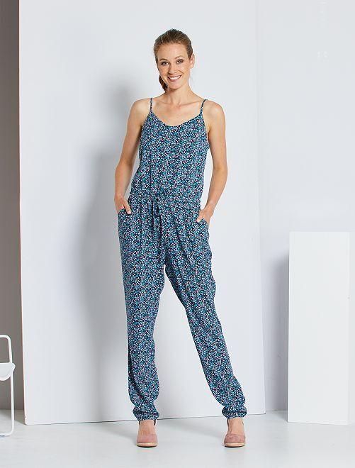 Combinaison pantalon imprimée                     bleu fleuri