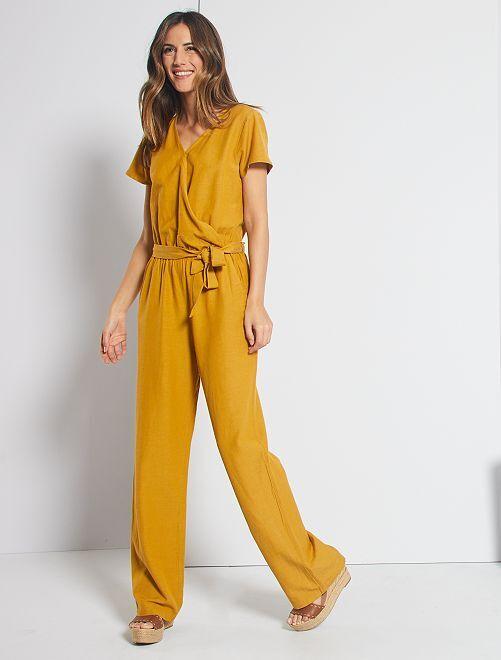Combinaison pantalon viscose et lin                                                     jaune moutarde