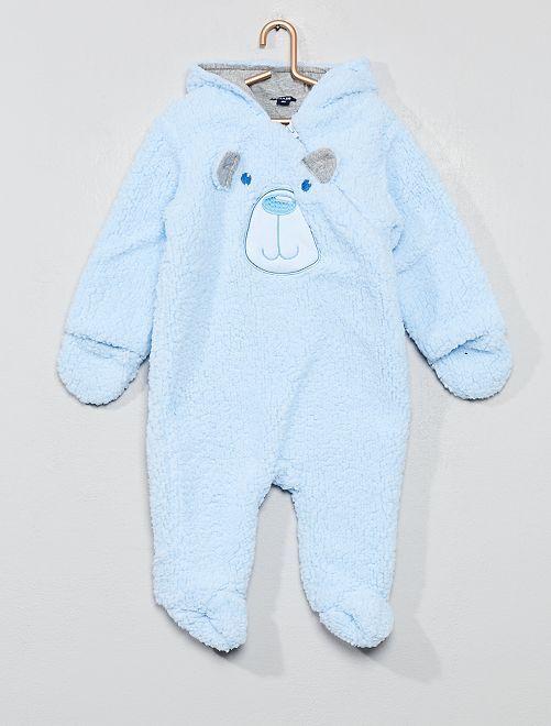 Combinaison pilote en polaire moutonnée                                         bleu Bébé garçon