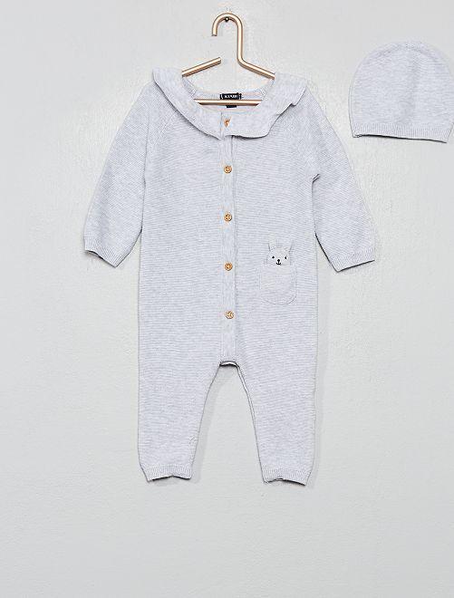 Combinaison tricot + bonnet 'éco-conception'                                         gris Bébé fille