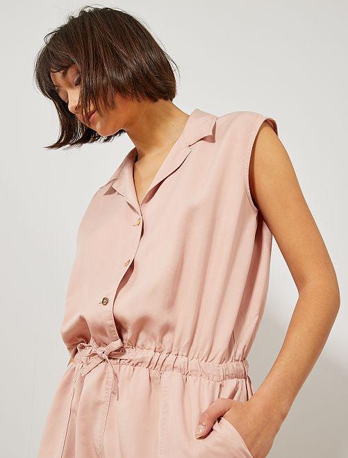 Combishort avec col chemise                                                                 rose Femme