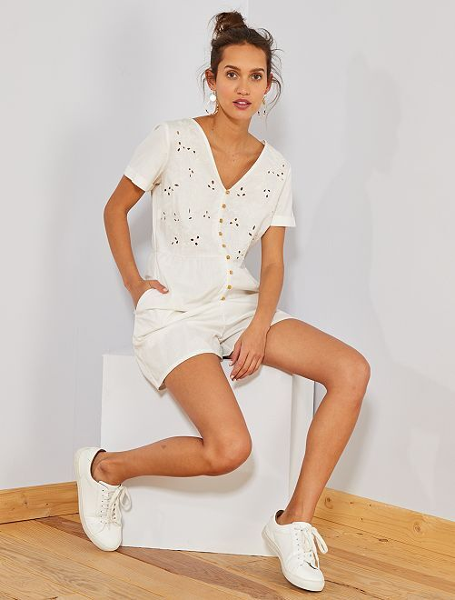 Combishort broderie anglaise                     blanc