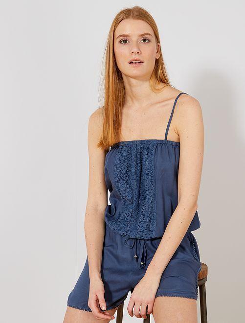 Combishort détail macramé                                                     bleu Femme