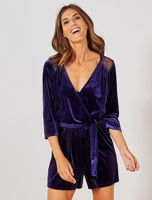 Combishort en velours                                 violet